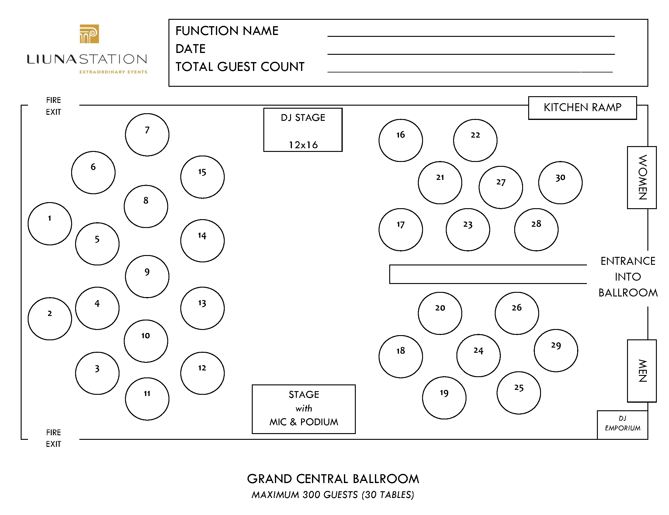 Station Floorplans - Grand Central Ballroom
