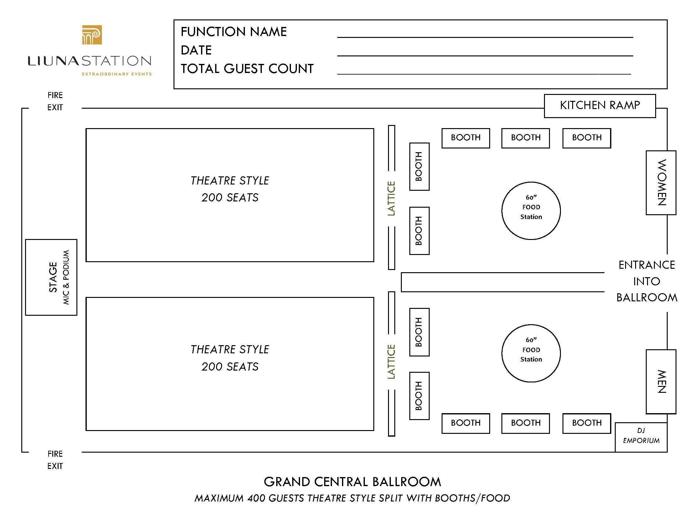 Station Floorplans - Grand Central Ballroom