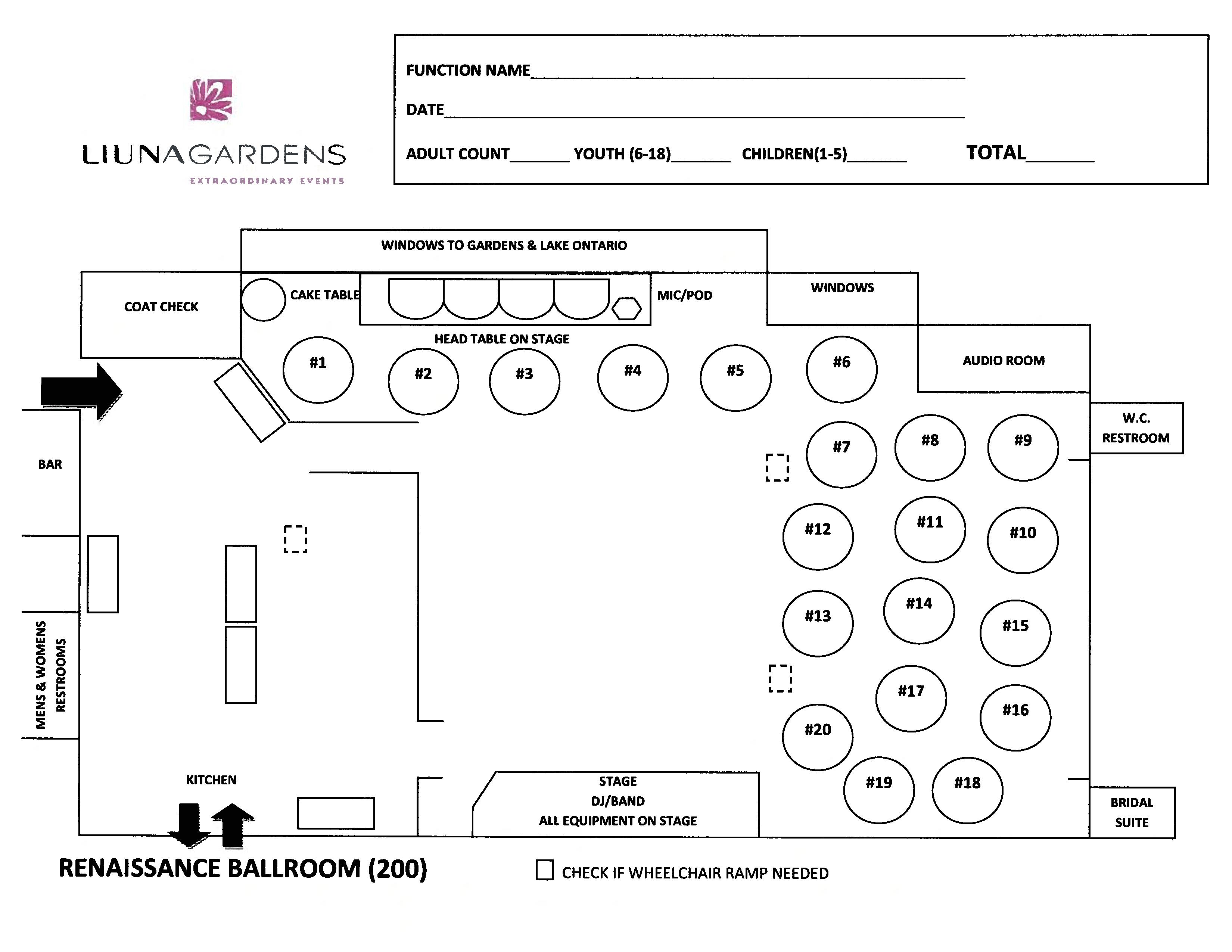 Gardens Floorplans - Renaissance Ballroom